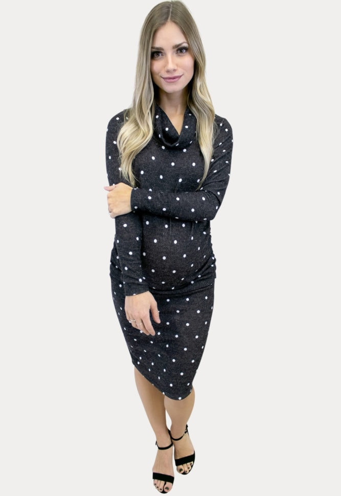 grey polka dot maternity dress