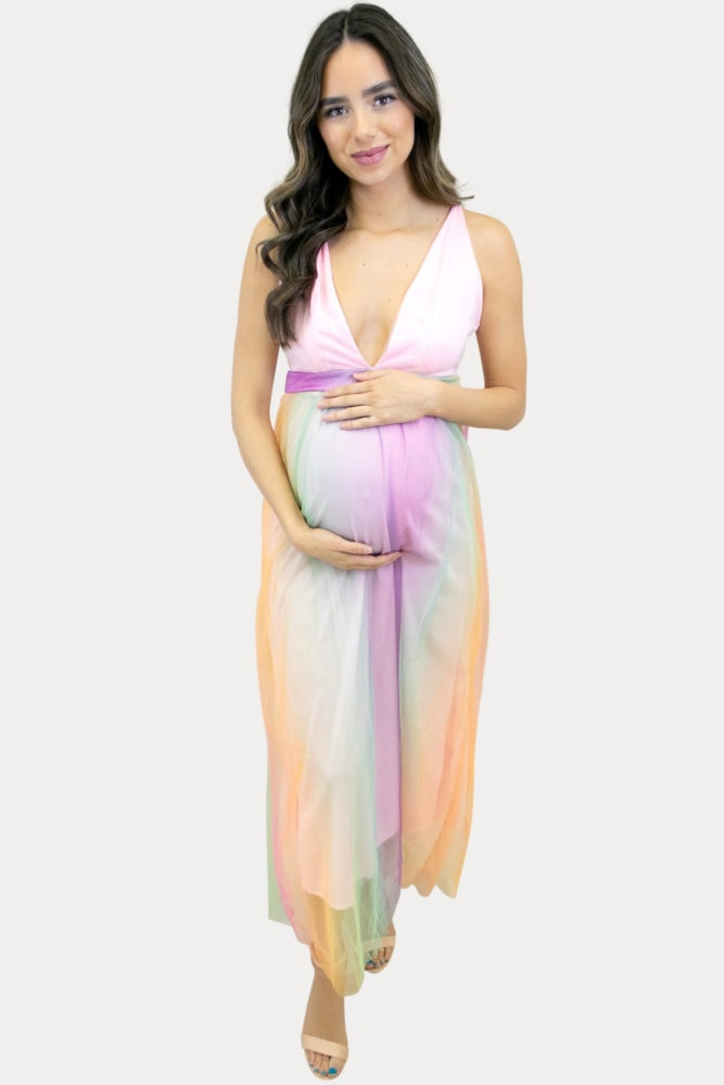 rainbow pregnancy gown