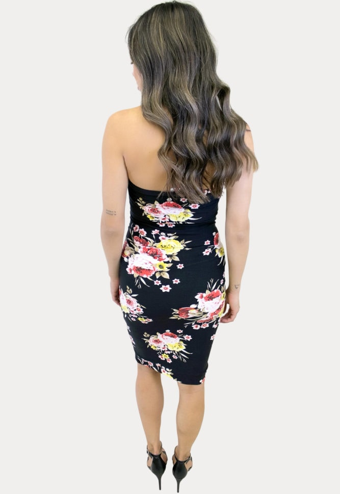 strapless floral maternity dress