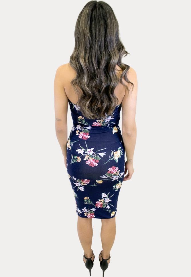 strapless navy maternity dress