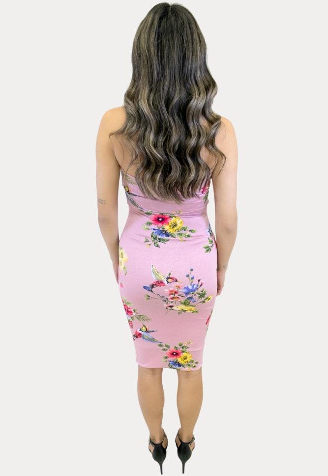 strapless pink maternity dress