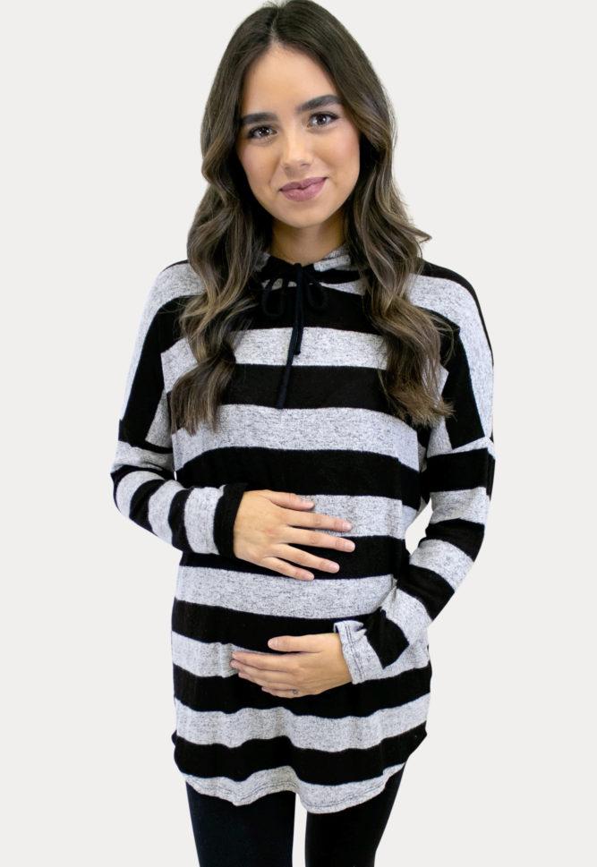 striped maternity sweatshirt