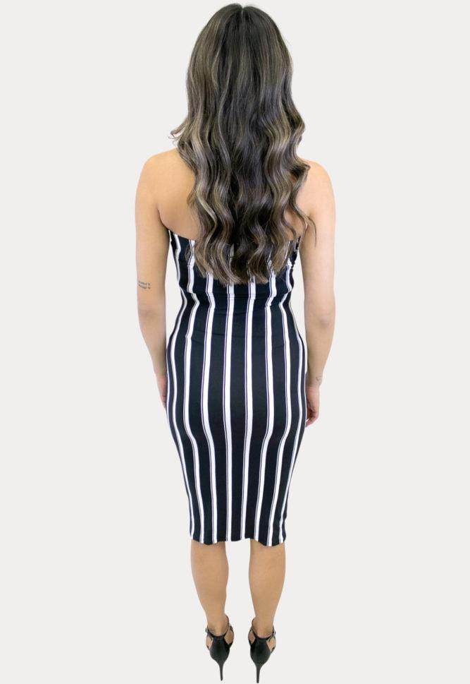 strapless striped maternity dress