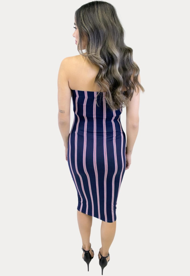 strapless striped pregnancy dress