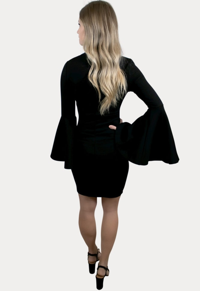 mock neck bell sleeve maternity dress