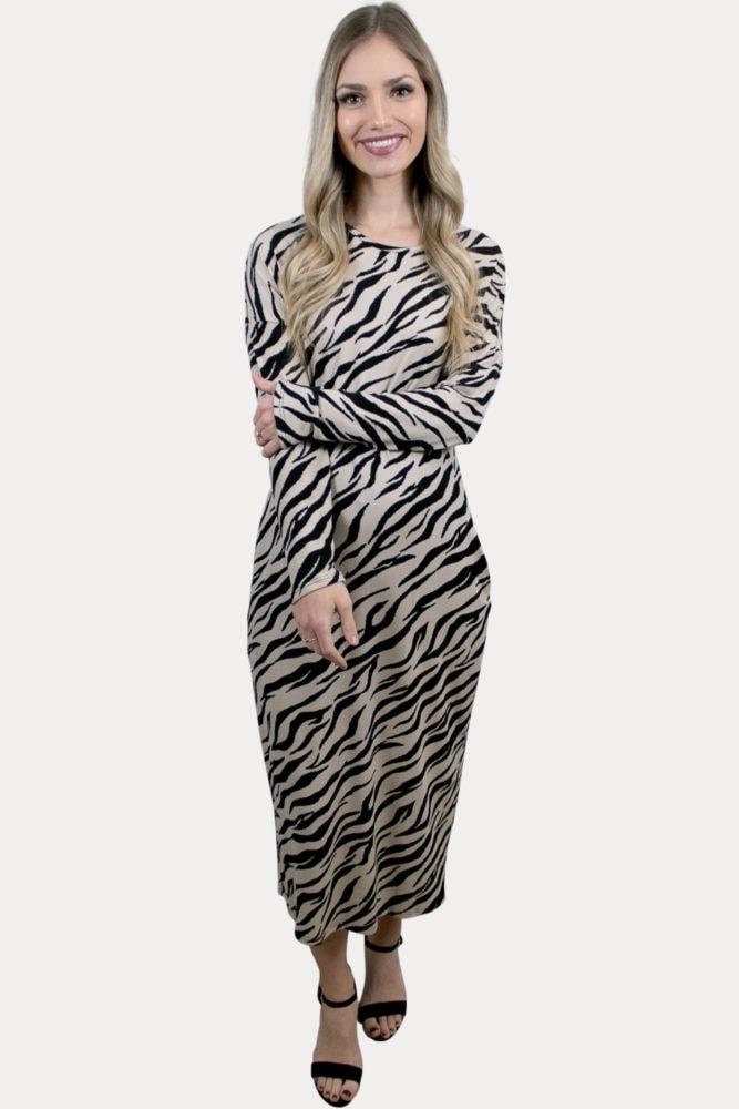 animal print maternity dress