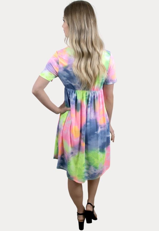 bright tie dye maternity dress