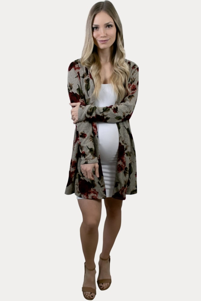 beige floral maternity cardigan