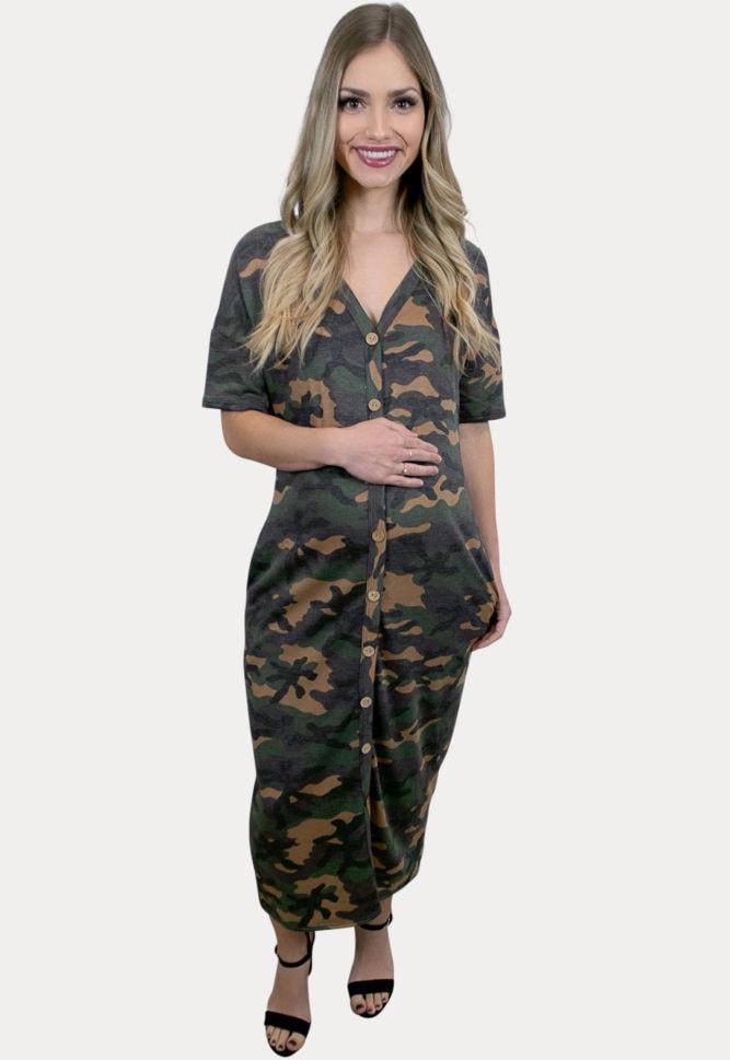 camo maternity midi dress