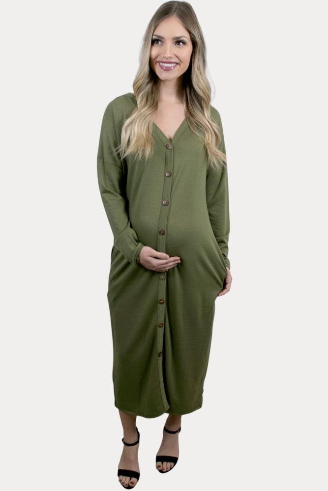 green maternity midi dress