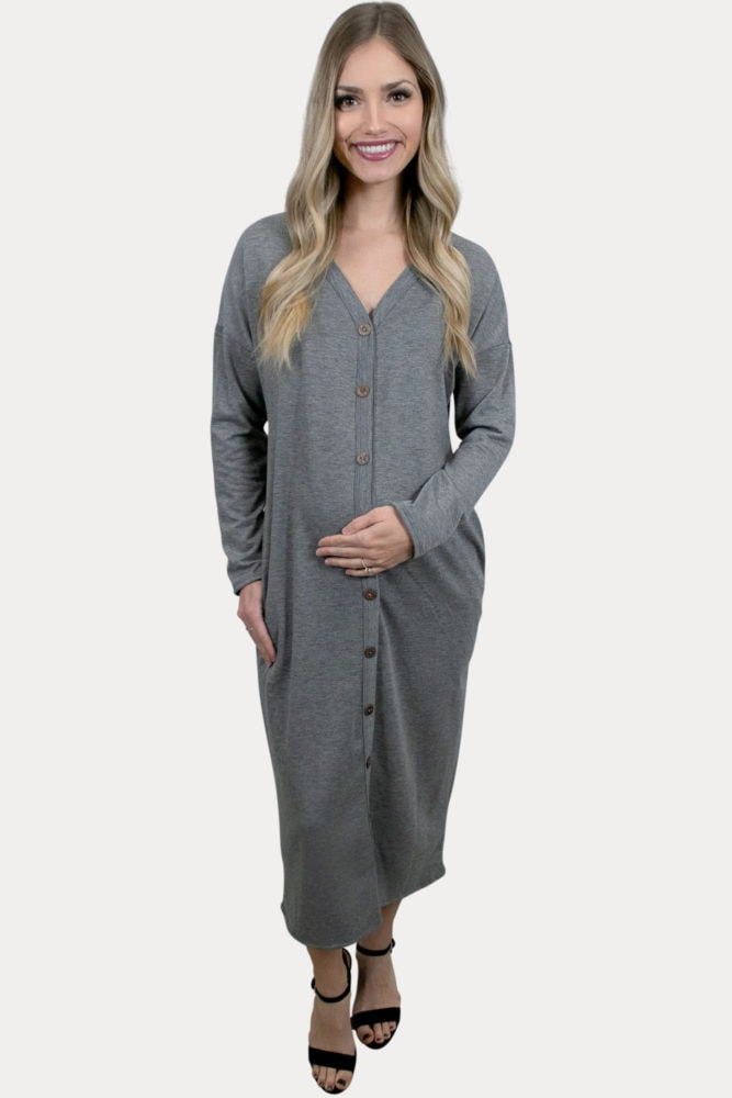 grey maternity midi dress