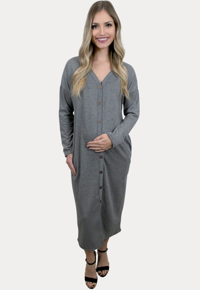 grey maternity midi dress