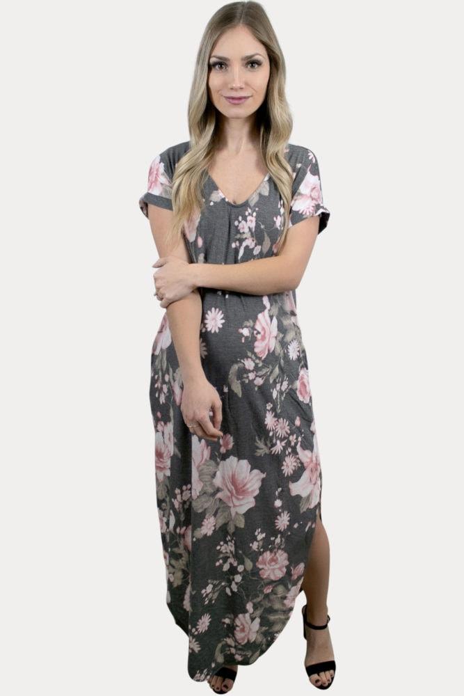 short sleeve maternity maxi dress