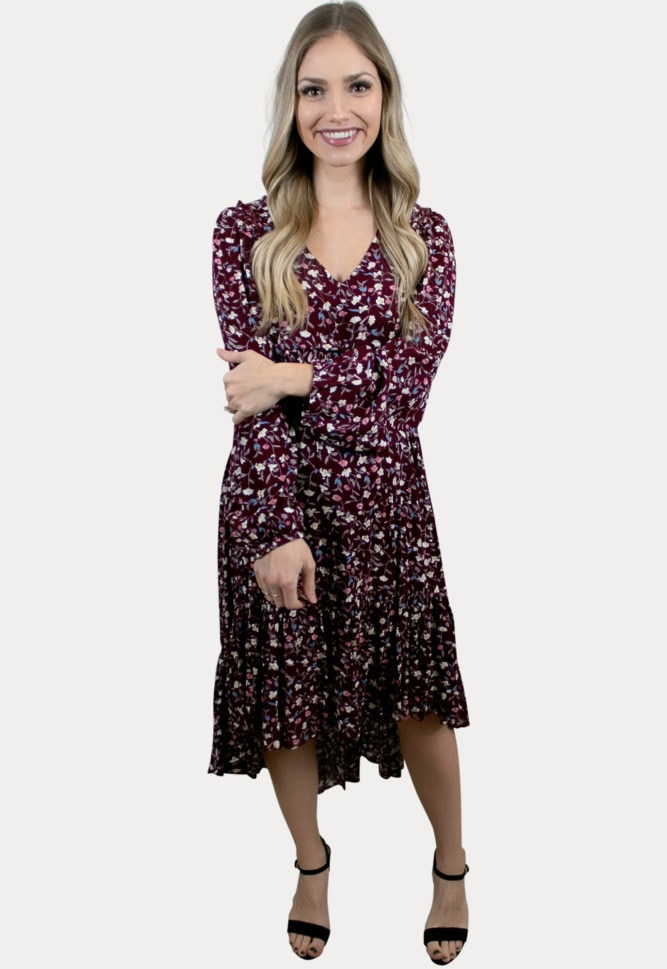 high low floral maternity dress