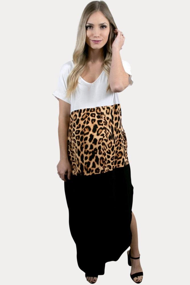 leopard color block maternity maxi