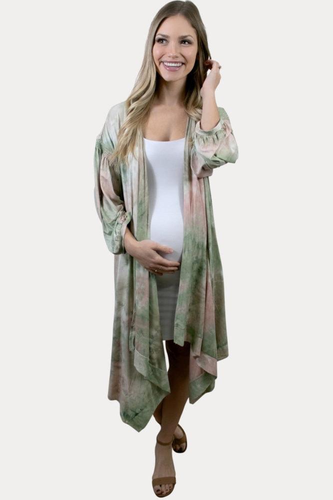 tie dye maternity kimono