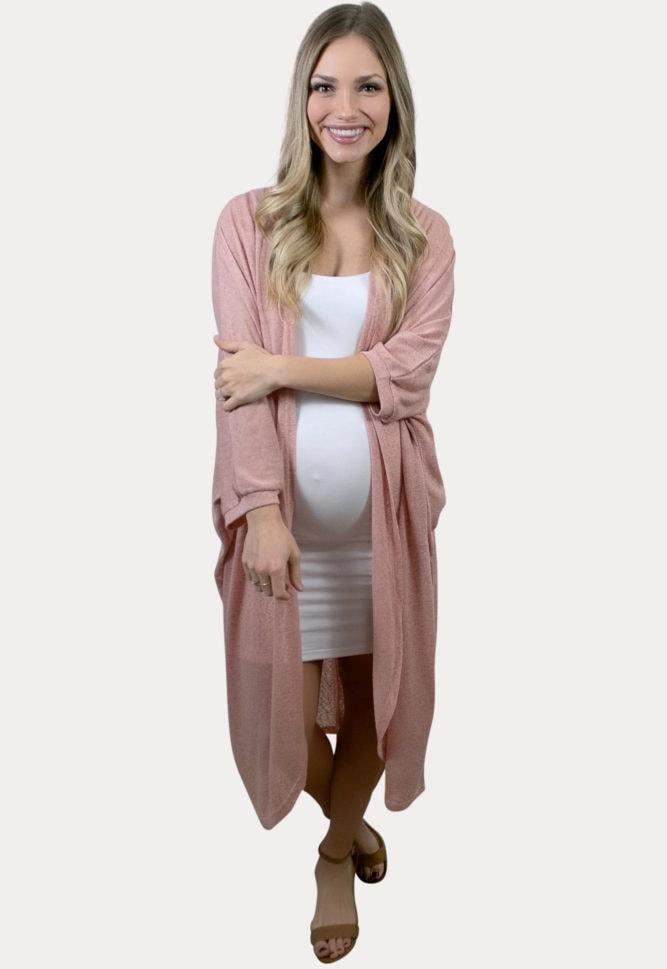 pink maternity kimono