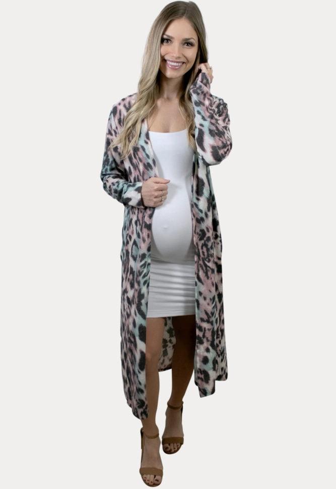 leopard pregnancy cardigan