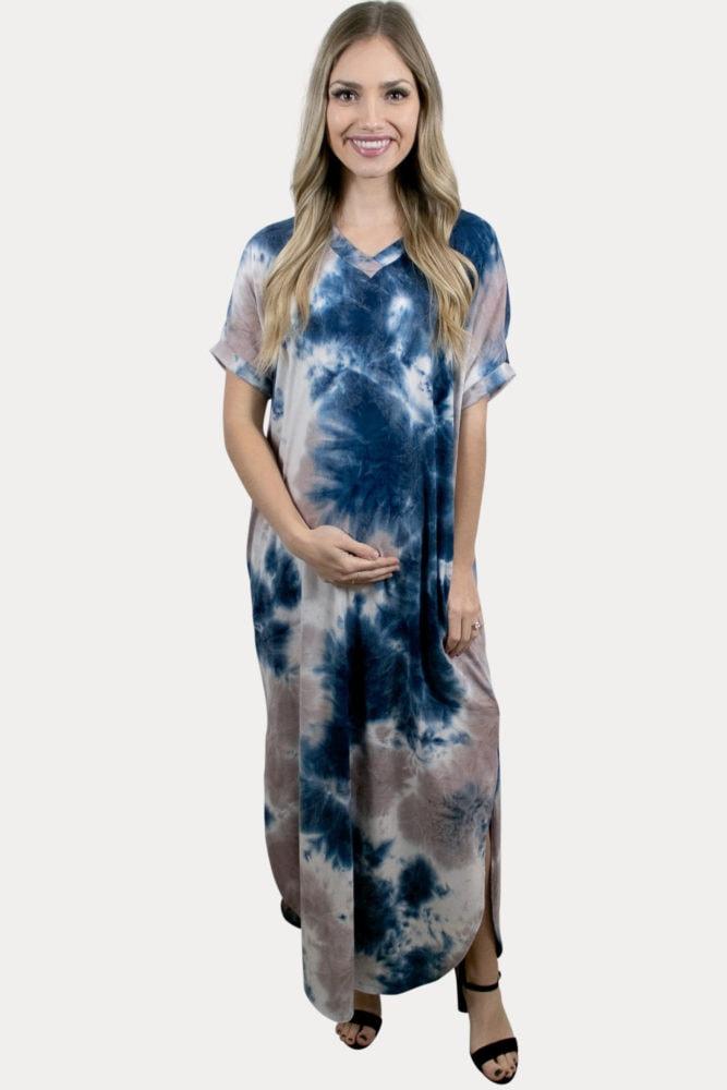tie dye pregnancy maxi