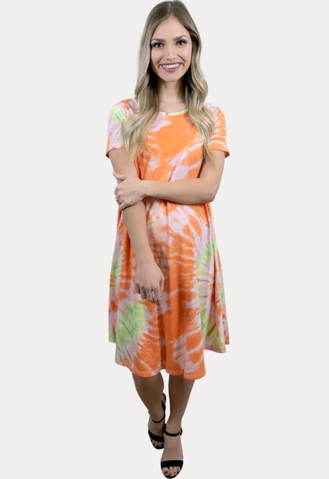 orange tie dye maternity dress