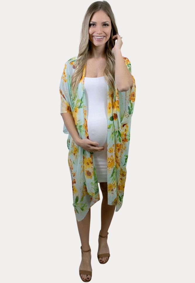 mint floral maternity cardigan