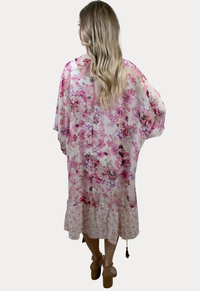 pink floral maternity cardigan