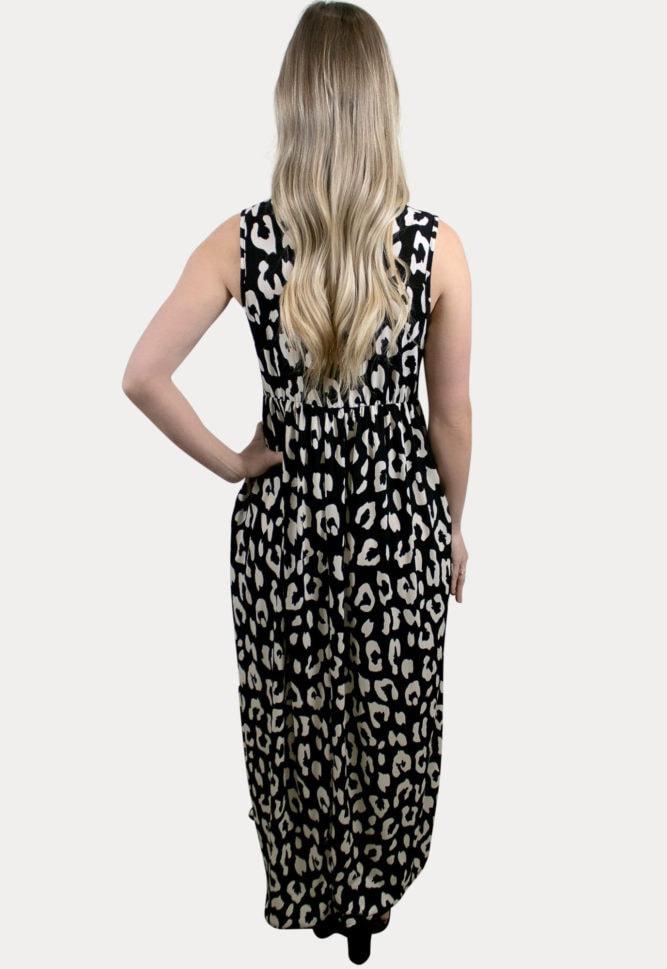 sleeveless leopard maternity maxi