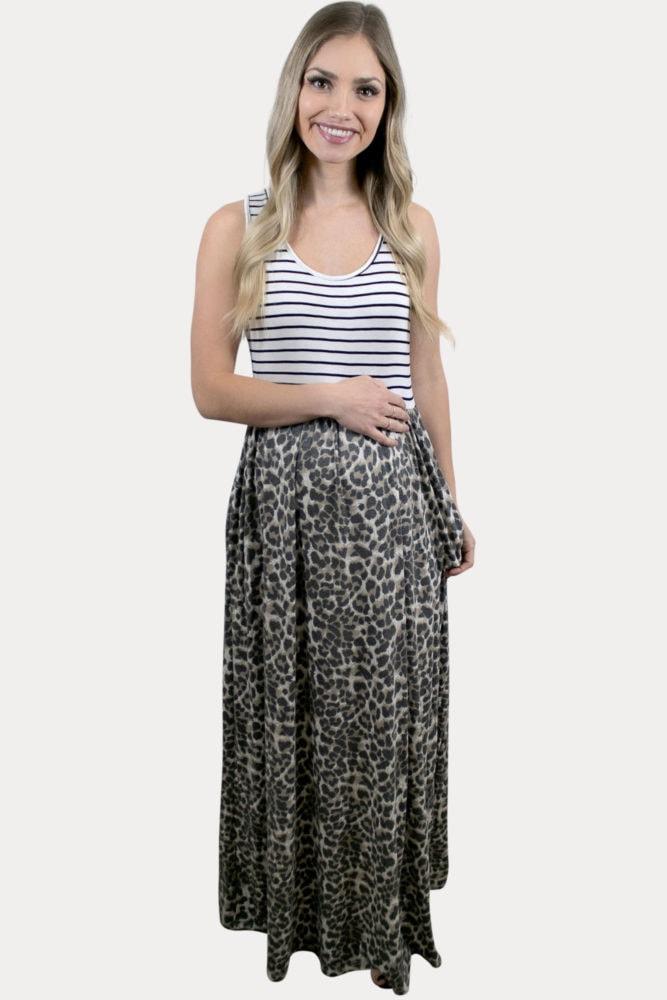 leopard color block pregnancy maxi
