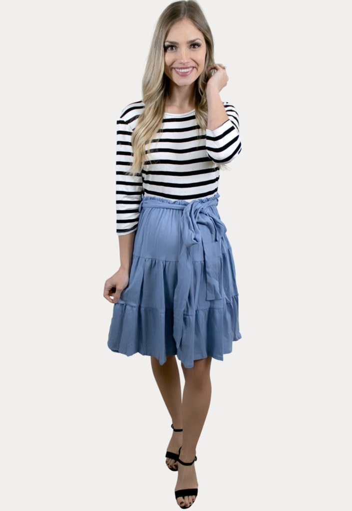 striped blue pregnancy dress