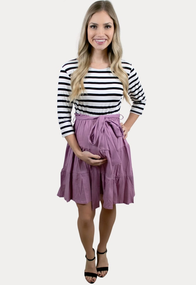 striped pink pregnancy dress