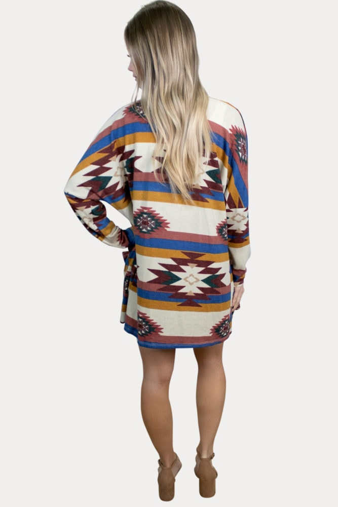 aztec print pregnancy kimono