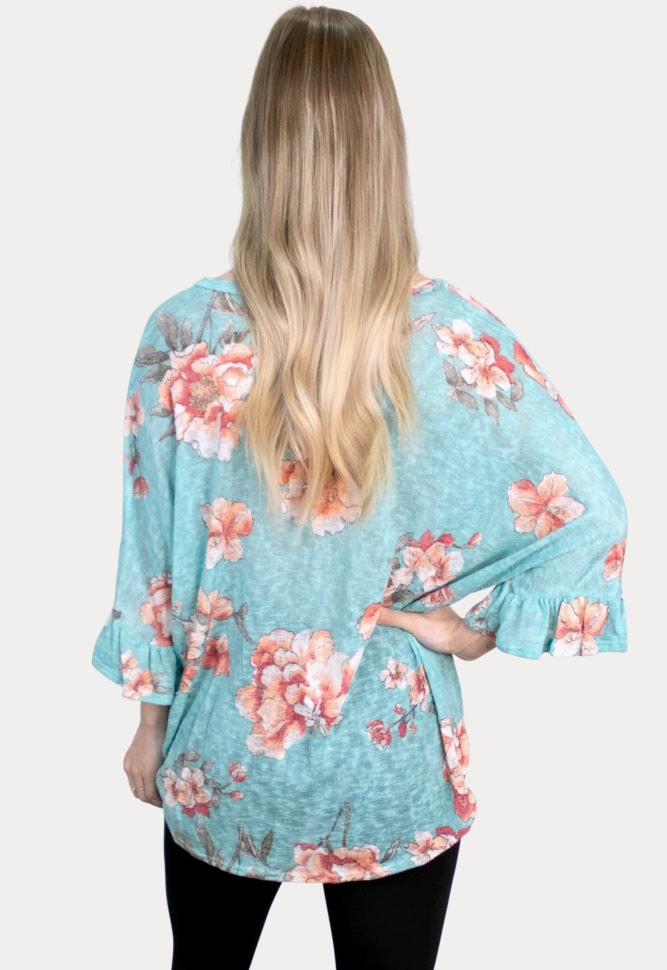 blue floral maternity top