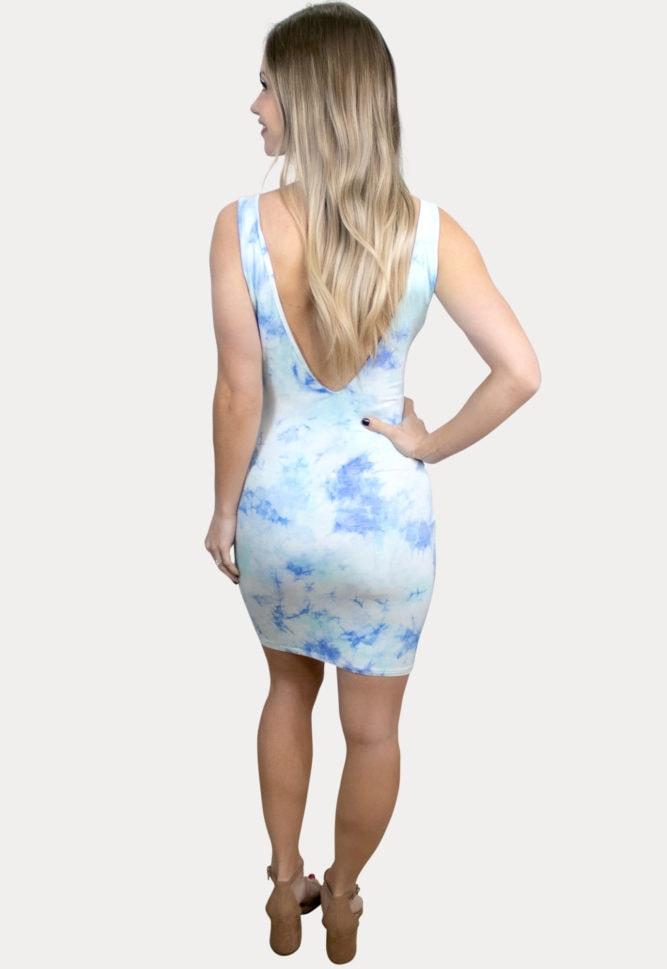 blue tie dye maternity dress