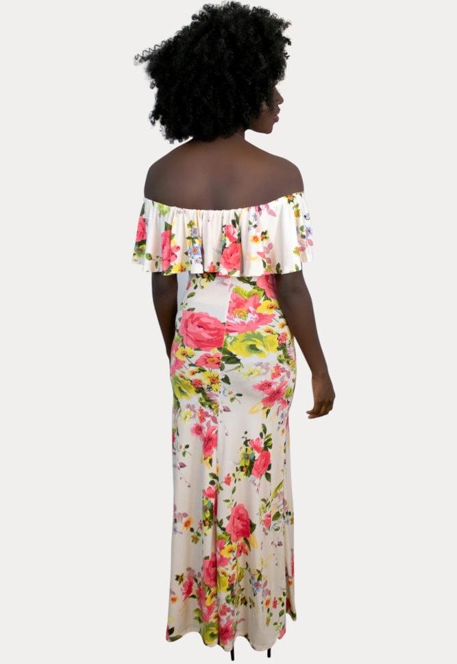 cream floral maternity maxi dress