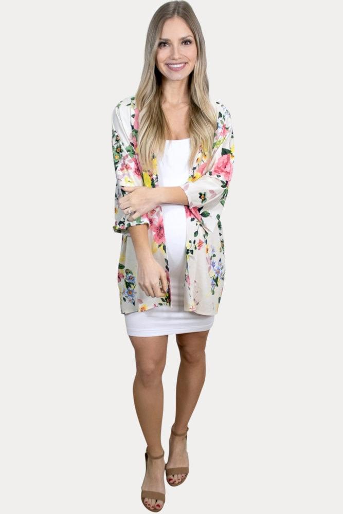 cream floral maternity kimono