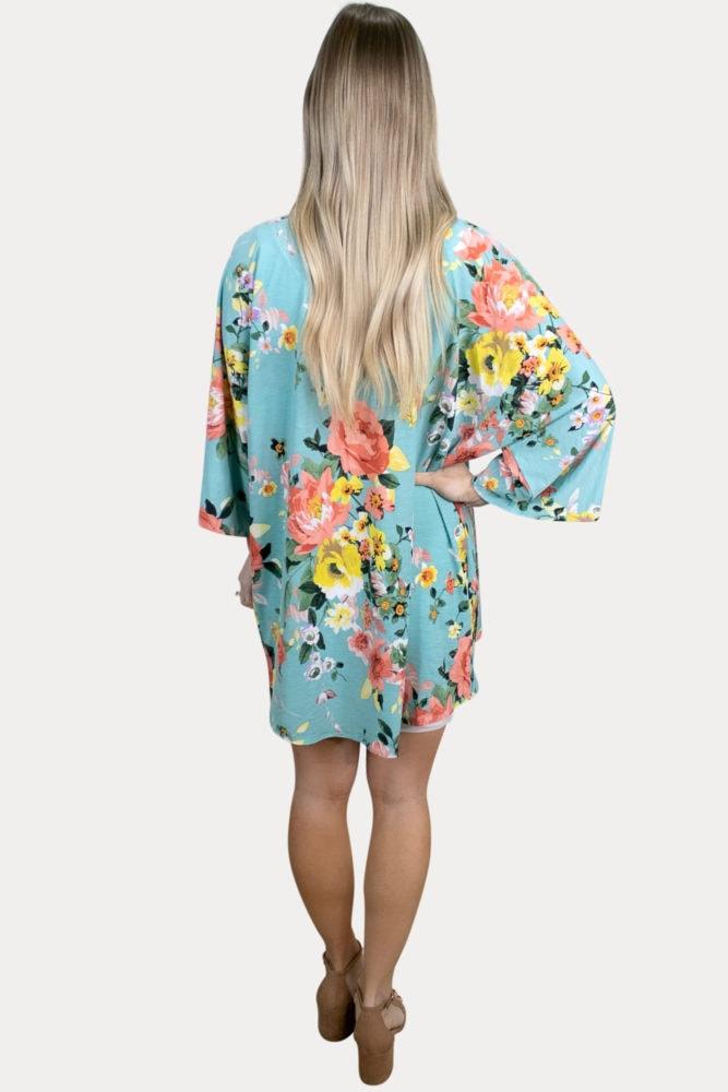 turquoise floral maternity kimono