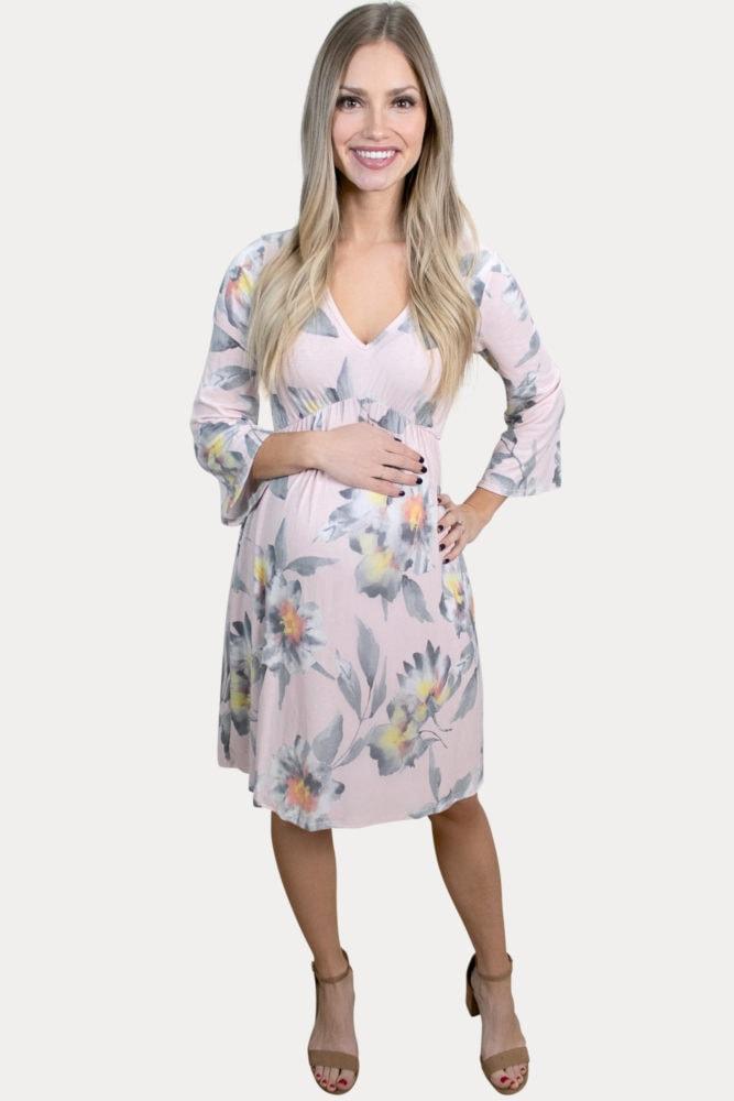 floral v-neck pregnancy dress