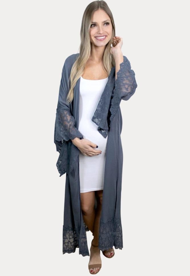 grey maternity duster