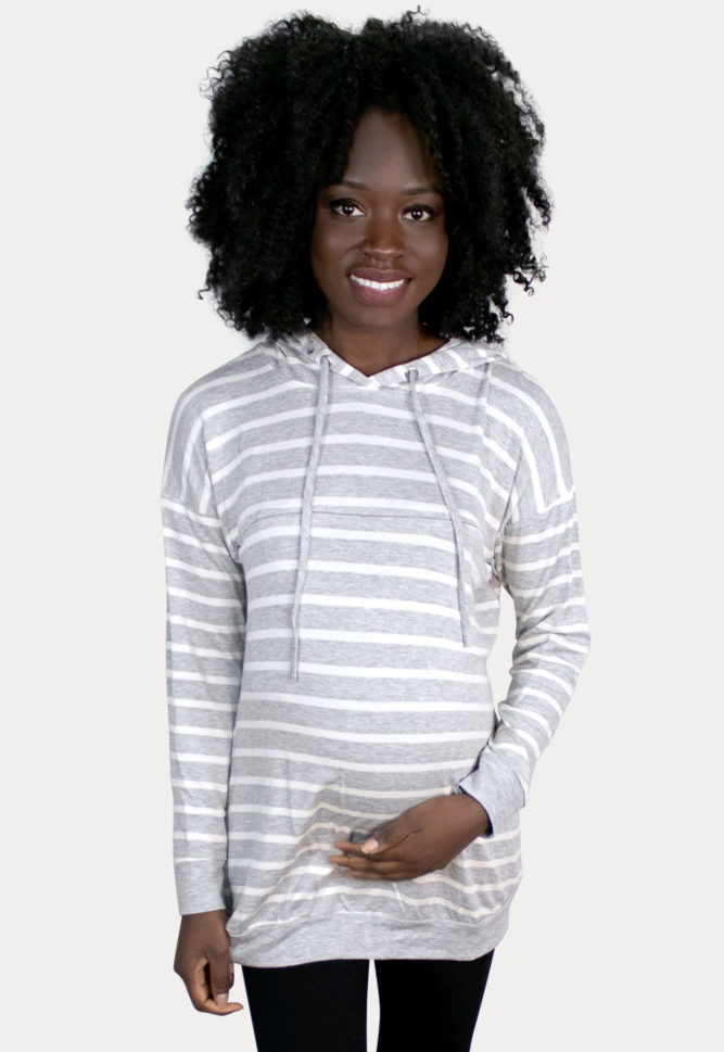 striped pregnancy sweatshirt