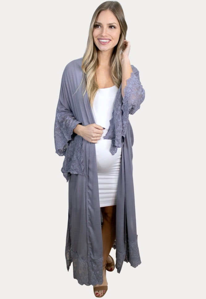 lilac maternity duster