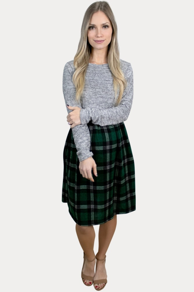 long sleeve plaid maternity dress
