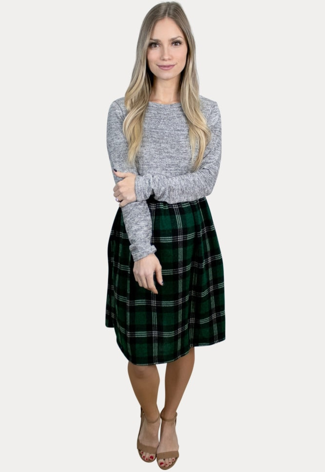 long sleeve plaid maternity dress