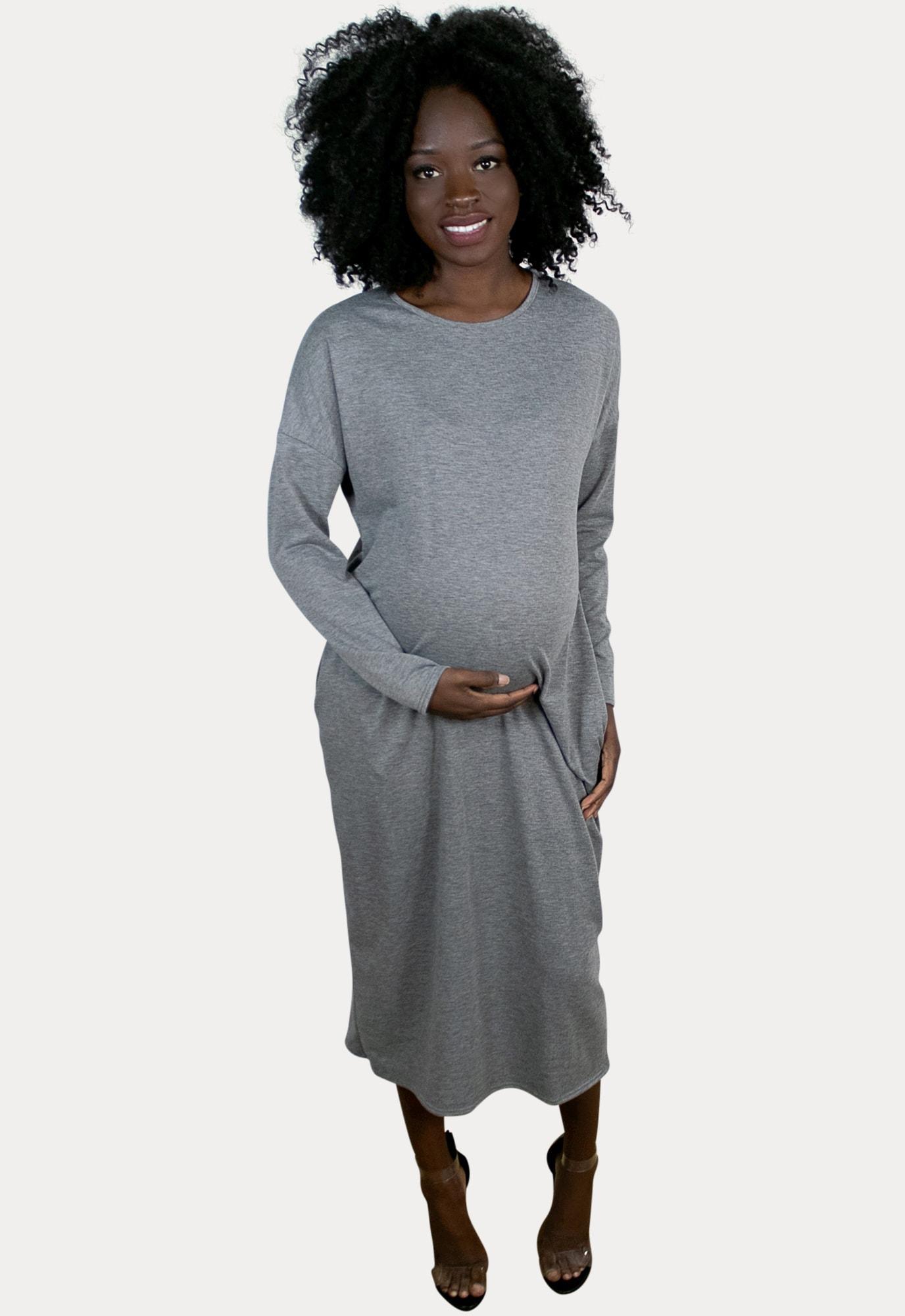 grey maternity midi sweater dress