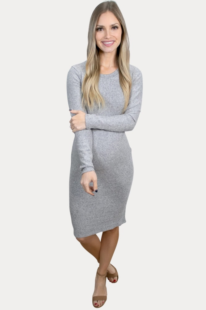 grey long-sleeve maternity dress