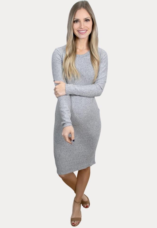 grey long-sleeve maternity dress