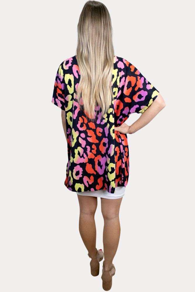 black leopard maternity kimono