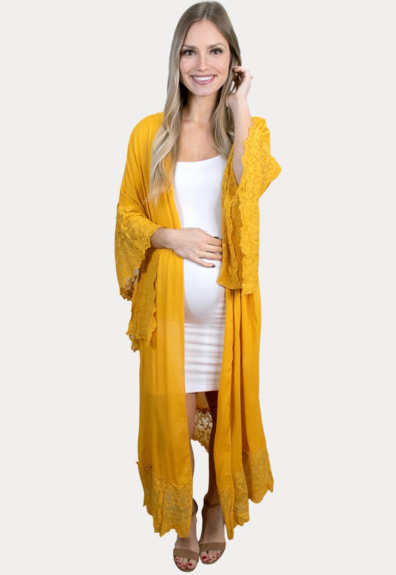 mustard maternity duster
