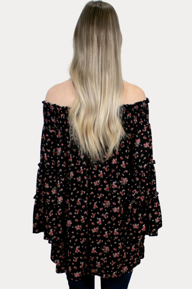 floral bell sleeve maternity top