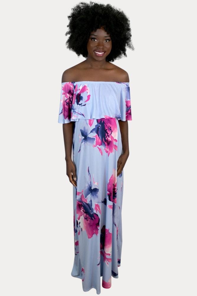 periwinkle maternity maxi dress