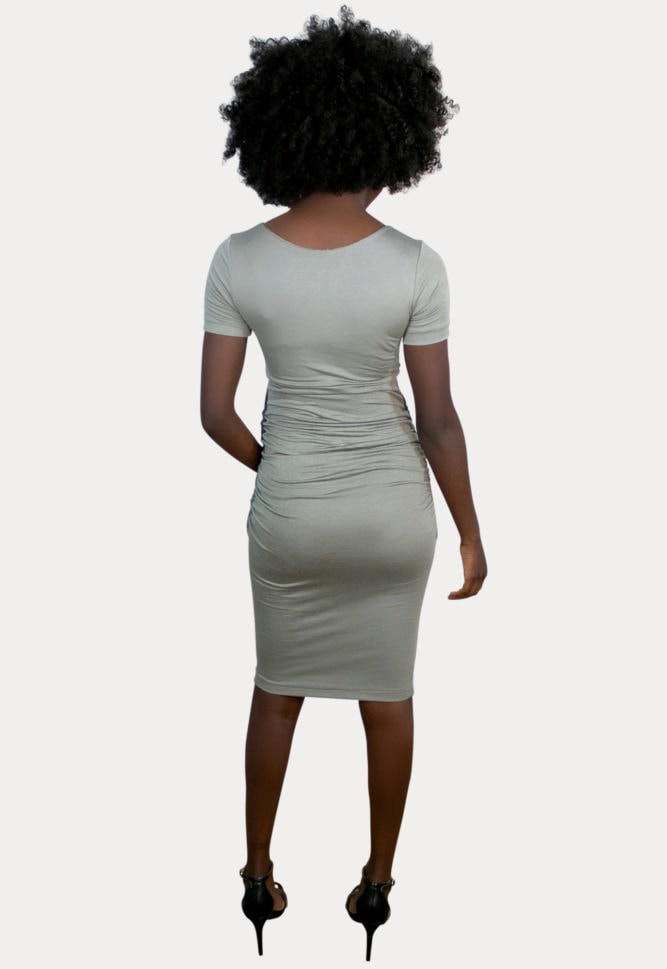 short sleeve sweetheart maternity dress
